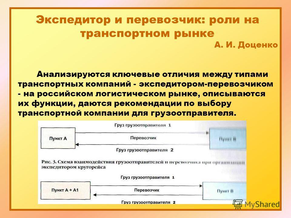 Экспедитор и перевозчик: роли на транспортном рынке А. И. Доценко Анализируются ключевые отличия между типами транспортных компаний - экспедитором-перевозчиком - на российском логистическом рынке, описываются их функции, даются рекомендации по выбору
