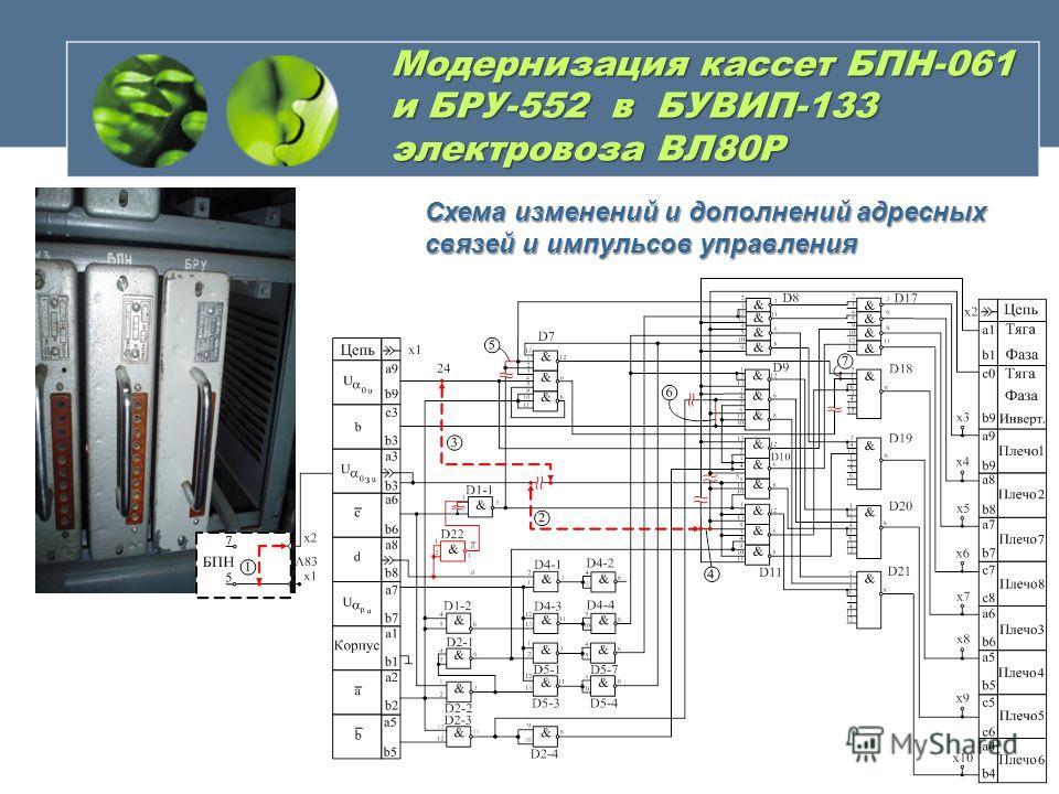 Модернизация кассет БПН-061 и БРУ-552 в БУВИП-133 электровоза ВЛ80Р Схема изменений и дополнений адресных связей и импульсов управления