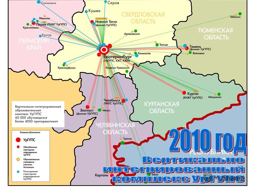 Вертикально-интегрированный комплекс УрГУПС В 2010 году в университетский транспортный комплекс войдут 13 учебных заведений Свердловской, Тюменской, Челябинской областей и Пермского края