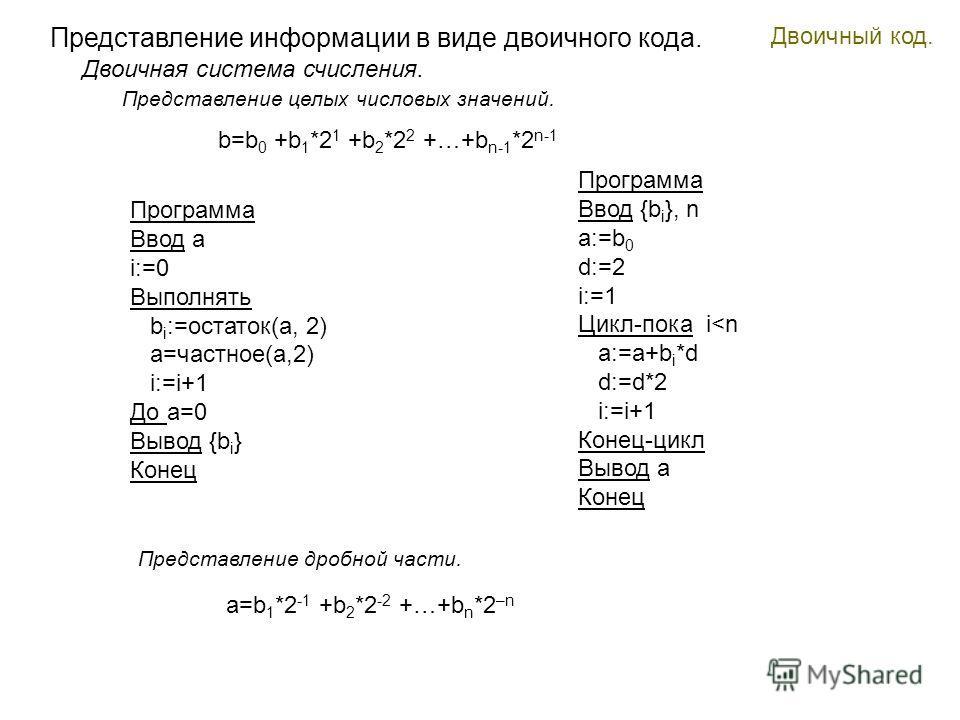 Двоичный код. Представление информации в виде двоичного кода. Представление целых числовых значений. Двоичная система счисления. Программа Ввод a i:=0 Выполнять b i :=остаток(a, 2) a=частное(a,2) i:=i+1 До a=0 Вывод {b i } Конец b=b 0 +b 1 *2 1 +b 2