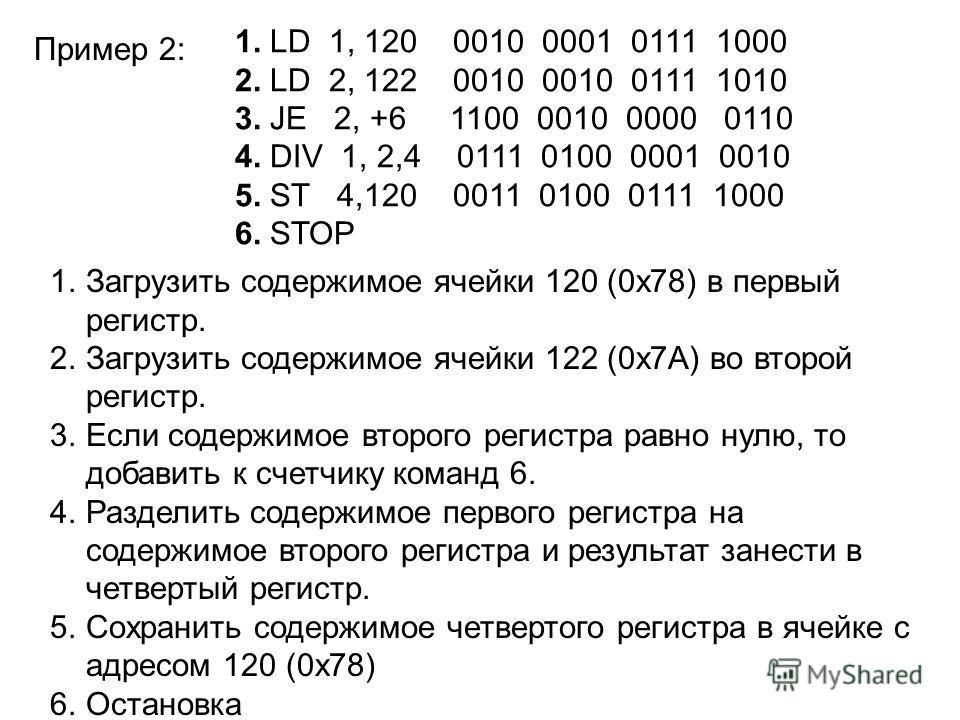 1. LD 1, 120 0010 0001 0111 1000 2. LD 2, 122 0010 0010 0111 1010 3. JE 2, +6 1100 0010 0000 0110 4. DIV 1, 2,4 0111 0100 0001 0010 5. ST 4,120 0011 0100 0111 1000 6. STOP 1.Загрузить содержимое ячейки 120 (0х78) в первый регистр. 2.Загрузить содержи