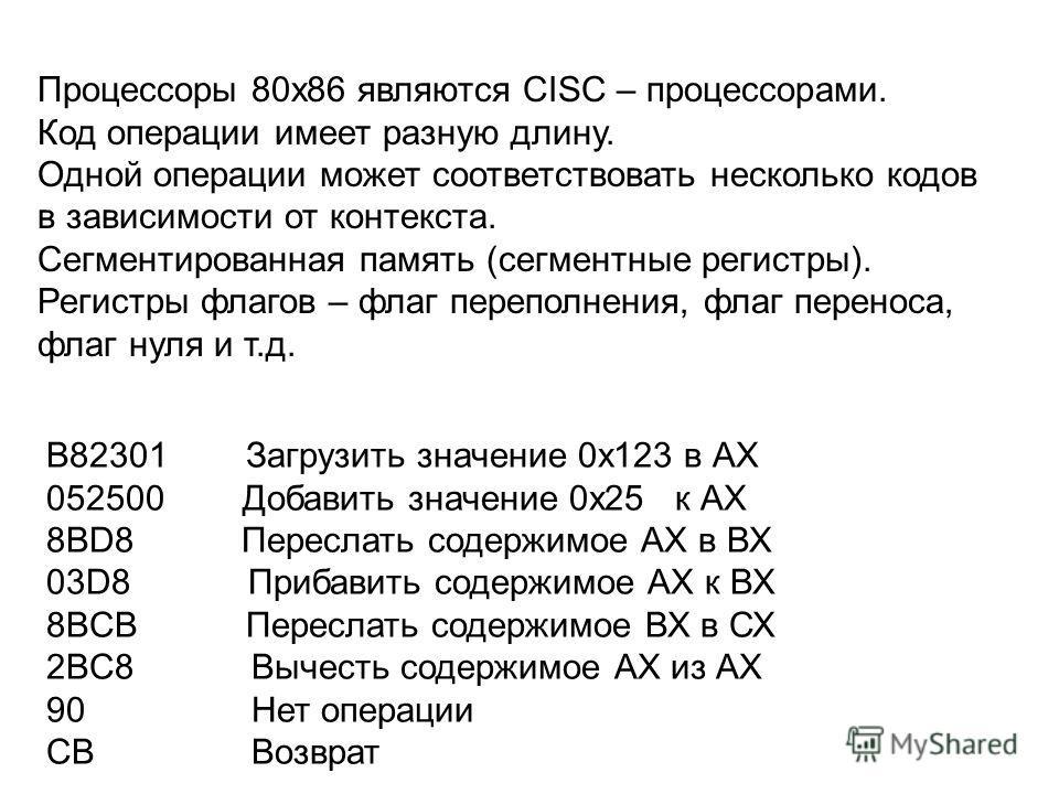 B82301 Загрузить значение 0х123 в АХ 052500 Добавить значение 0х25 к АХ 8BD8 Переслать содержимое АХ в ВХ 03D8 Прибавить содержимое АХ к ВХ 8BCB Переслать содержимое ВХ в СХ 2BC8 Вычесть содержимое АХ из АХ 90 Нет операции CB Возврат Процессоры 80x86