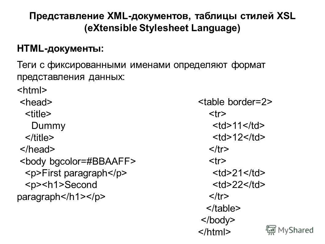 Представление XML-документов, таблицы стилей XSL (eXtensible Stylesheet Language) HTML-документы: Теги с фиксированными именами определяют формат представления данных: Dummy First paragraph Second paragraph 11 12 21 22