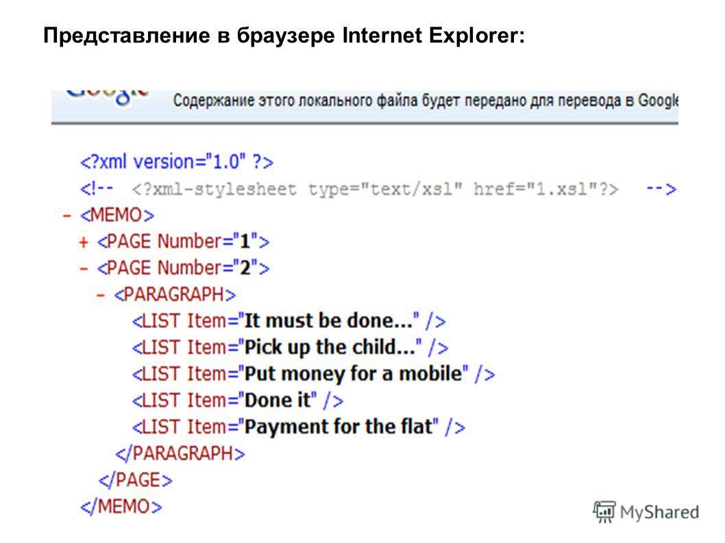 Представление в браузере Internet Explorer: