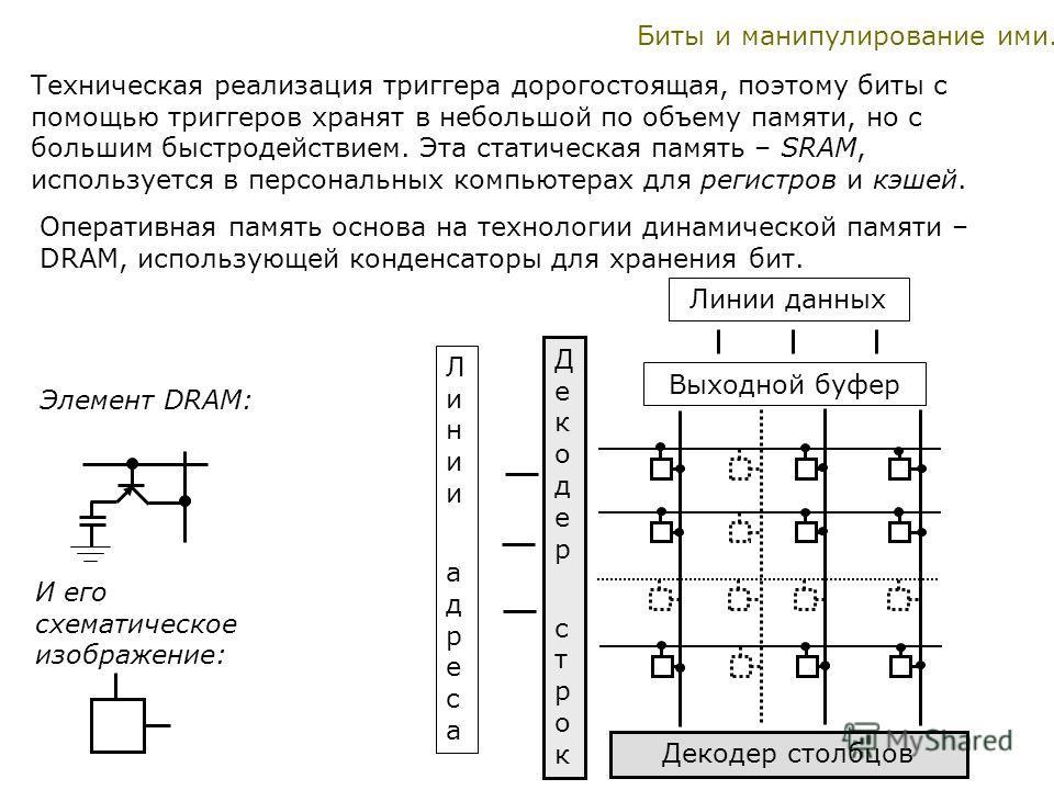 Биты и манипулирование ими. Техническая реализация триггера дорогостоящая, поэтому биты с помощью триггеров хранят в небольшой по объему памяти, но с большим быстродействием. Эта статическая память – SRAM, используется в персональных компьютерах для