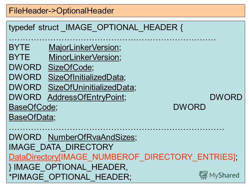 typedef struct _IMAGE_OPTIONAL_HEADER { ………………………………………………………………… BYTE MajorLinkerVersion; BYTE MinorLinkerVersion; DWORD SizeOfCode; DWORD SizeOfInitializedData; DWORD SizeOfUninitializedData; DWORD AddressOfEntryPoint; DWORD BaseOfCode; DWORD BaseO
