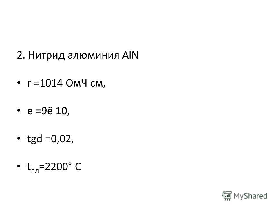 2. Нитрид алюминия AlN r =1014 ОмЧ см, e =9ё 10, tgd =0,02, t пл =2200° С