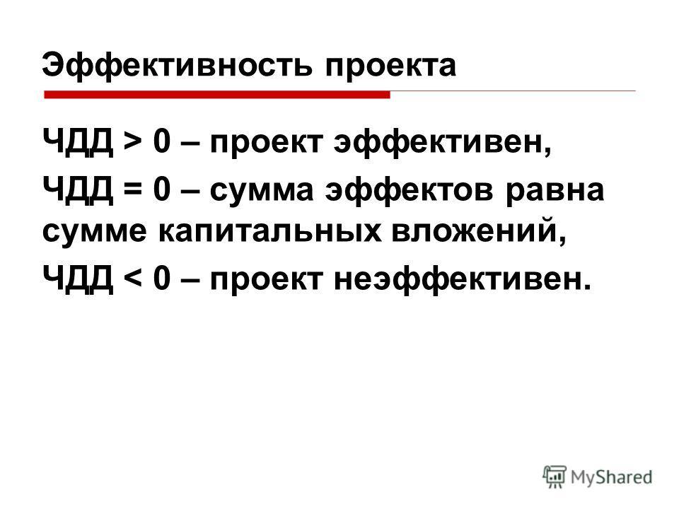 Эффективность проекта ЧДД > 0 – проект эффективен, ЧДД = 0 – сумма эффектов равна сумме капитальных вложений, ЧДД < 0 – проект неэффективен.