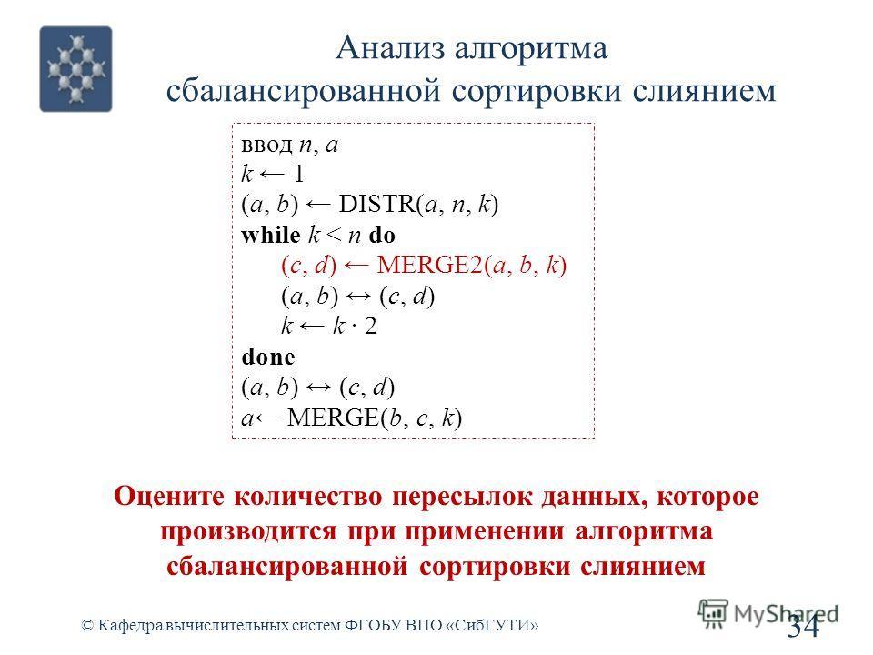 Анализ алгоритма сбалансированной сортировки слиянием 34 © Кафедра вычислительных систем ФГОБУ ВПО «СибГУТИ» ввод n, a k 1 (a, b) DISTR(a, n, k) while k < n do (c, d) MERGE2(a, b, k) (a, b) (c, d) k k 2 done (a, b) (c, d) a MERGE(b, c, k) Оцените кол