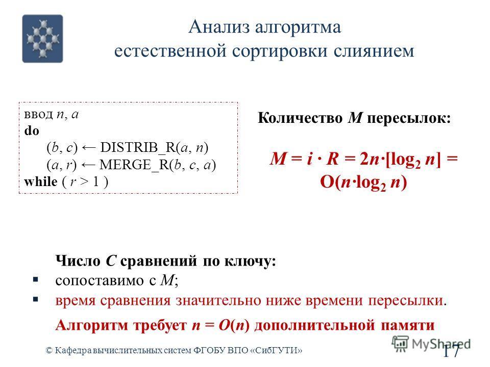 17 © Кафедра вычислительных систем ФГОБУ ВПО «СибГУТИ» Количество M пересылок: M = i R = 2n[log 2 n] = O(nlog 2 n) Число C сравнений по ключу: сопоставимо с M; время сравнения значительно ниже времени пересылки. Алгоритм требует n = O(n) дополнительн