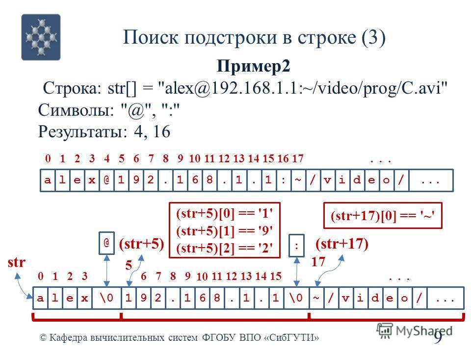 Поиск подстроки в строке (3) © Кафедра вычислительных систем ФГОБУ ВПО «СибГУТИ» 9 Пример2 Строка: str[] =