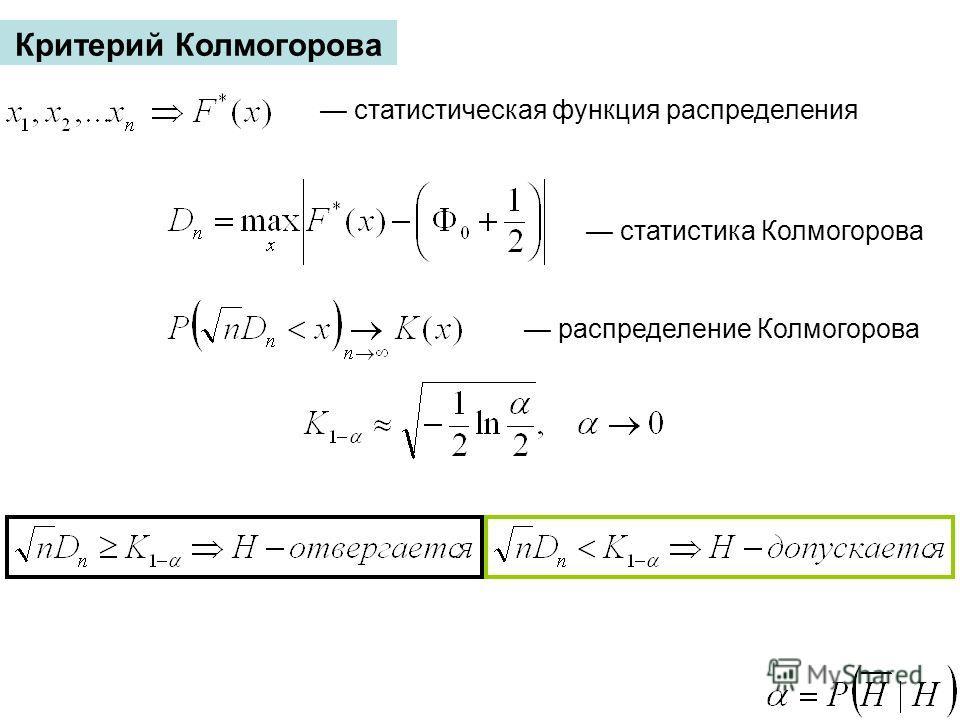 Критерий Колмогорова статистическая функция распределения статистика Колмогорова распределение Колмогорова