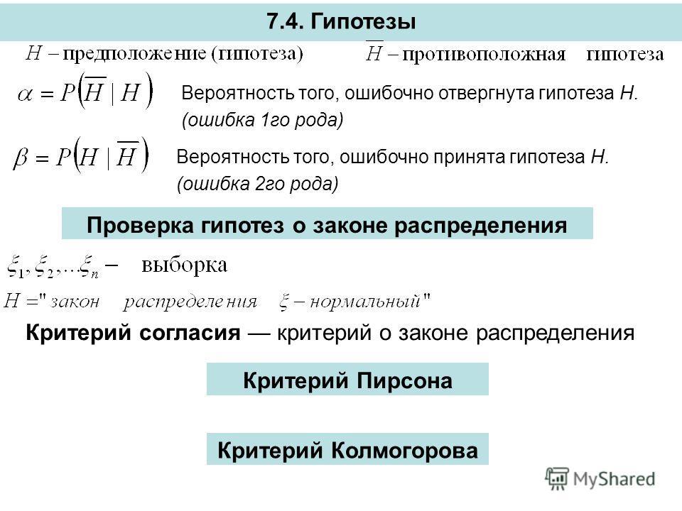 7.4. Гипотезы Вероятность того, ошибочно отвергнута гипотеза Н. (ошибка 1го рода) Вероятность того, ошибочно принята гипотеза Н. (ошибка 2го рода) Проверка гипотез о законе распределения Критерий согласия критерий о законе распределения Критерий Пирс