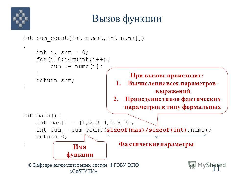 int sum_count(int quant,int nums[]) { int i, sum = 0; for(i=0;i