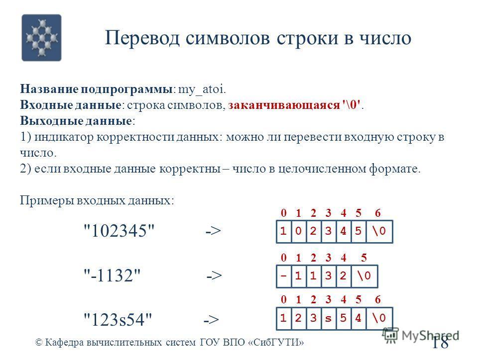 Перевод символов строки в число 18 © Кафедра вычислительных систем ГОУ ВПО «СибГУТИ» 102345\0 0123456 Название подпрограммы: my_atoi. Входные данные: строка символов, заканчивающаяся '\0'. Выходные данные: 1) индикатор корректности данных: можно ли п