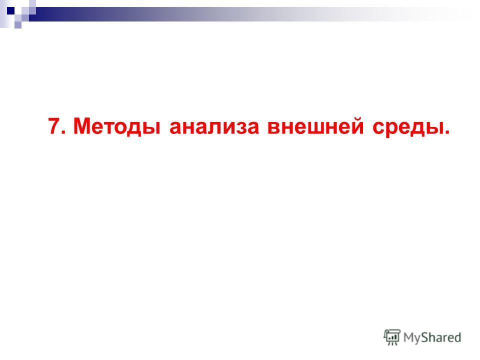 7. Методы анализа внешней среды.