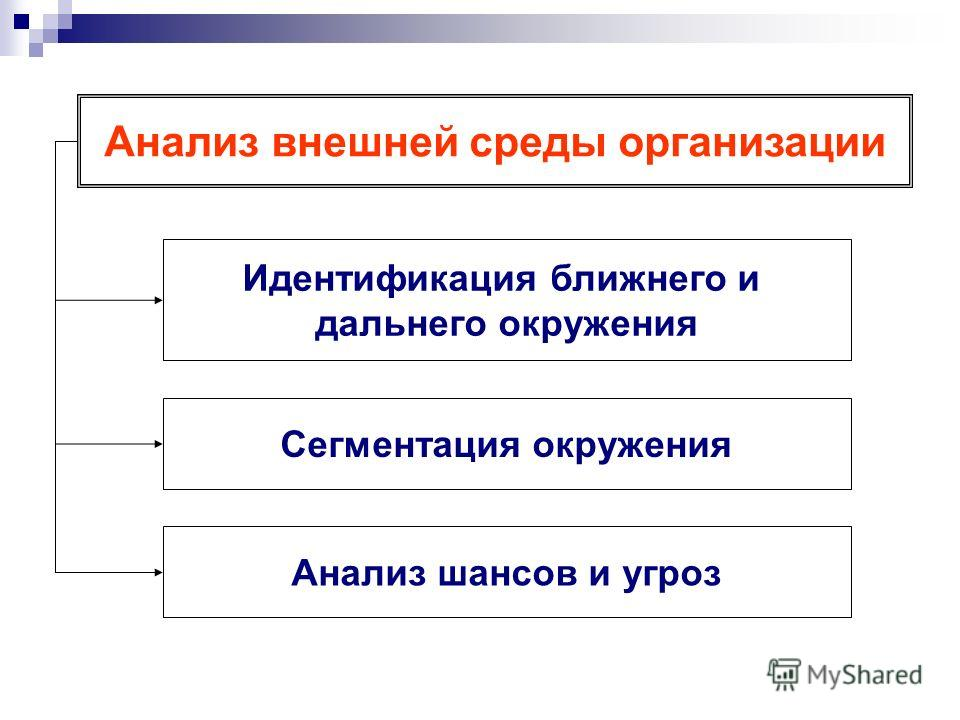 Анализ внешней среды организации Идентификация ближнего и дальнего окружения Сегментация окружения Анализ шансов и угроз