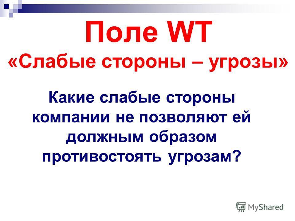 Поле WT «Слабые стороны – угрозы» Какие слабые стороны компании не позволяют ей должным образом противостоять угрозам?