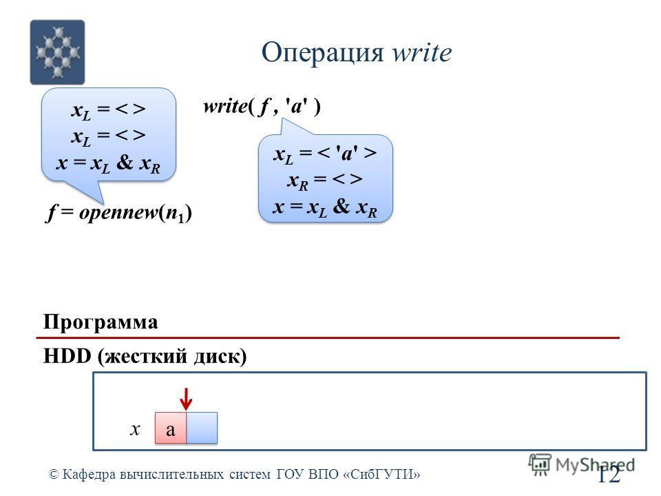 Операция write © Кафедра вычислительных систем ГОУ ВПО «СибГУТИ» 12 Программа HDD (жесткий диск) f = opennew(n 1 ) x L = x = x L & x R x L = x = x L & x R write( f, 'a' ) x L = x R = x = x L & x R x L = x R = x = x L & x R x a a