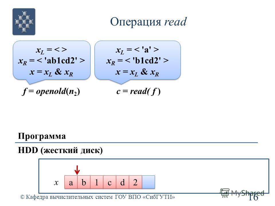 Операция read © Кафедра вычислительных систем ГОУ ВПО «СибГУТИ» 16 Программа HDD (жесткий диск) x a a b b 1 1 c c d d 2 2 f = openold(n 2 ) x L = x R = x = x L & x R x L = x R = x = x L & x R c = read( f ) x L = x R = x = x L & x R x L = x R = x = x