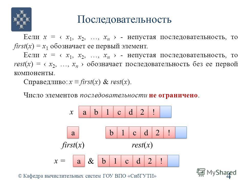 Последовательность © Кафедра вычислительных систем ГОУ ВПО «СибГУТИ» 4 Если x = x 1, x 2, …, x n - непустая последовательность, то first(x) = x 1 обозначает ее первый элемент. Если x = x 1, x 2, …, x n - непустая последовательность, то rest(x) = x 2,