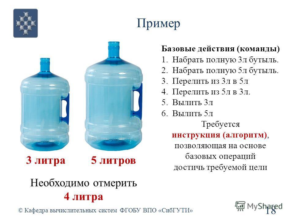 Пример © Кафедра вычислительных систем ФГОБУ ВПО «СибГУТИ» 18 3 литра 5 литров Необходимо отмерить 4 литра Базовые действия (команды) 1.Набрать полную 3л бутыль. 2.Набрать полную 5л бутыль. 3.Перелить из 3л в 5л 4.Перелить из 5л в 3л. 5.Вылить 3л 6.В
