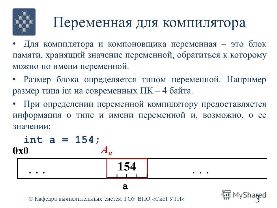 Переменная для компилятора Для компилятора и компоновщика переменная – это блок памяти, хранящий значение переменной, обратиться к которому можно по имени переменной. Размер блока определяется типом переменной. Например размер типа int на современных