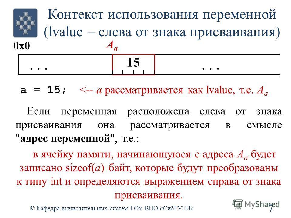 Контекст использования переменной (lvalue – слева от знака присваивания) 7 © Кафедра вычислительных систем ГОУ ВПО «СибГУТИ» a = 15;... 0x0 154 AaAa 15 Если переменная расположена слева от знака присваивания она рассматривается в смысле