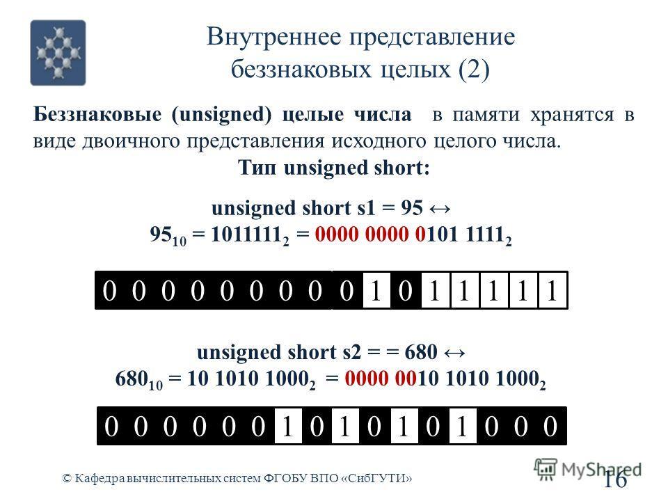 Внутреннее представление беззнаковых целых (2) © Кафедра вычислительных систем ФГОБУ ВПО «СибГУТИ» 16 unsigned short s1 = 95 95 10 = 1011111 2 = 0000 0000 0101 1111 2 0101111100000000 unsigned short s2 = = 680 680 10 = 10 1010 1000 2 = 0000 0010 1010