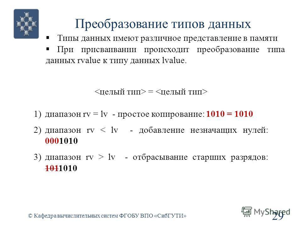 Преобразование типов данных © Кафедра вычислительных систем ФГОБУ ВПО «СибГУТИ» 29 Типы данных имеют различное представление в памяти При присваивании происходит преобразование типа данных rvalue к типу данных lvalue. = 1)диапазон rv = lv - простое к