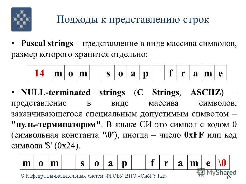 Подходы к представлению строк © Кафедра вычислительных систем ФГОБУ ВПО «СибГУТИ» 8 Pascal strings – представление в виде массива символов, размер которого хранится отдельно: NULL-terminated strings (C Strings, ASCIIZ) – представление в виде массива