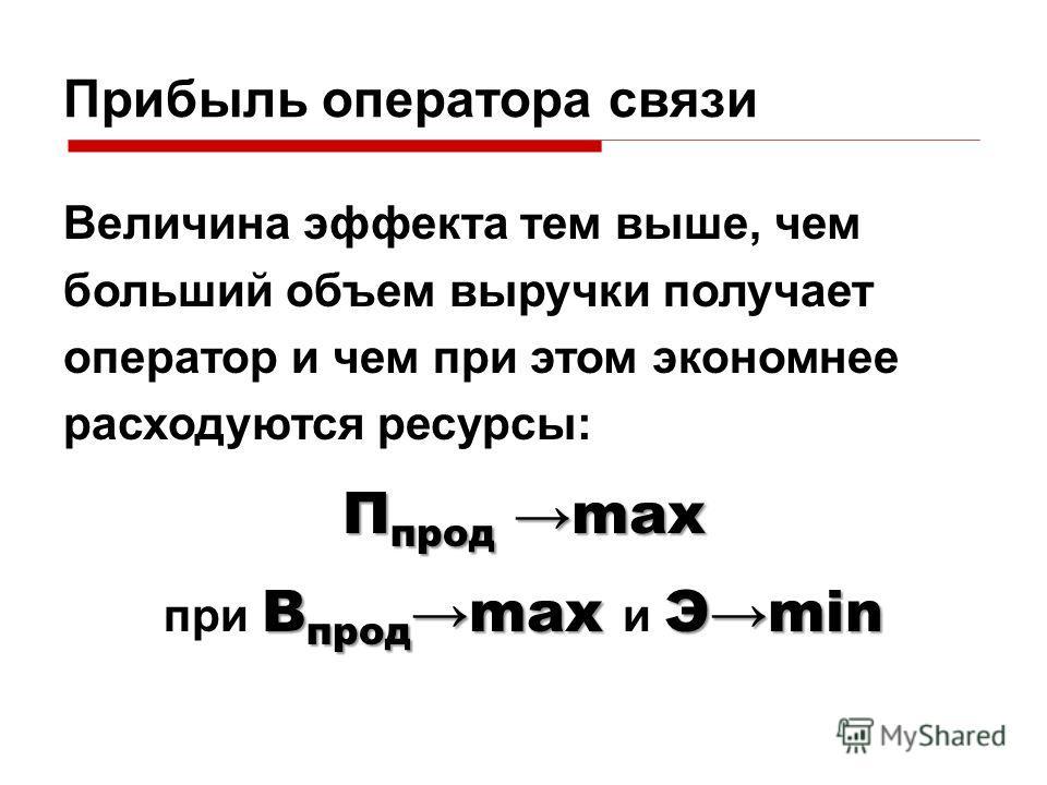Прибыль оператора связи Величина эффекта тем выше, чем больший объем выручки получает оператор и чем при этом экономнее расходуются ресурсы: П прод max В продmax Эmin при В продmax и Эmin