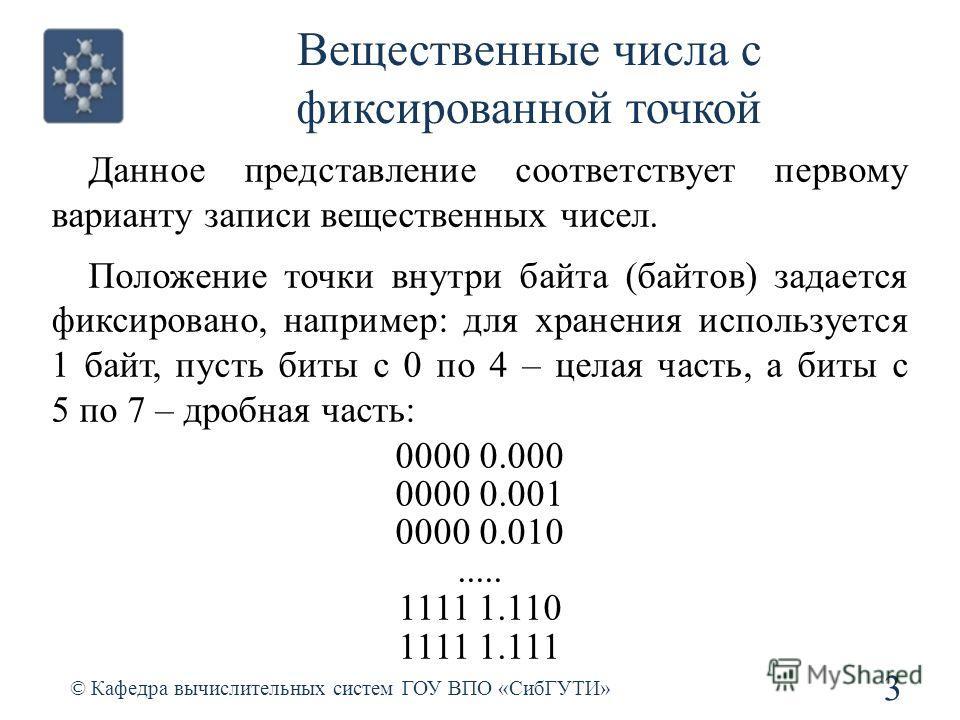 Вещественные числа с фиксированной точкой Данное представление соответствует первому варианту записи вещественных чисел. Положение точки внутри байта (байтов) задается фиксировано, например: для хранения используется 1 байт, пусть биты с 0 по 4 – цел