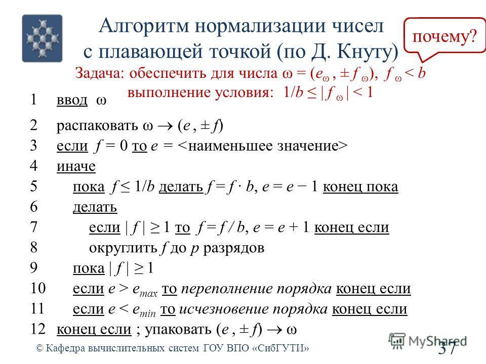 Алгоритм нормализации чисел с плавающей точкой (по Д. Кнуту) 37 © Кафедра вычислительных систем ГОУ ВПО «СибГУТИ» Задача: обеспечить для числа ω = (e ω, ± f ω ), f ω < b выполнение условия: 1/b   f ω   < 1 1ввод ω 2 распаковать ω (e, ± f) 3если f = 0