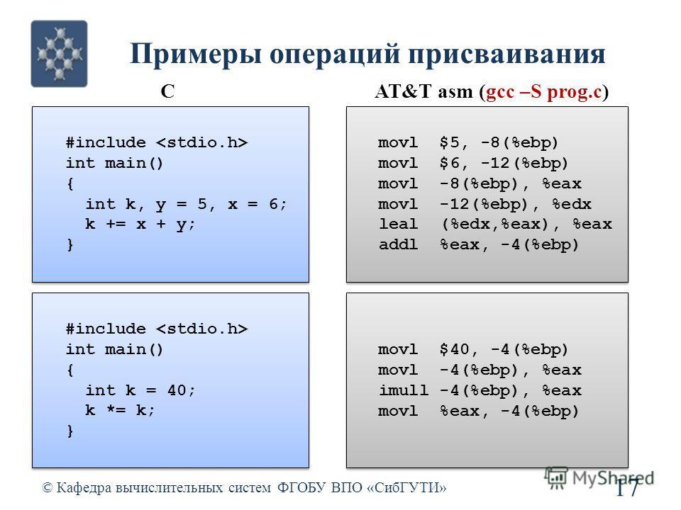 Примеры операций присваивания © Кафедра вычислительных систем ФГОБУ ВПО «СибГУТИ» 17 CAT&T asm (gcc –S prog.c) #include int main() { int k, y = 5, x = 6; k += x + y; } #include int main() { int k, y = 5, x = 6; k += x + y; } movl $5, -8(%ebp) movl $6