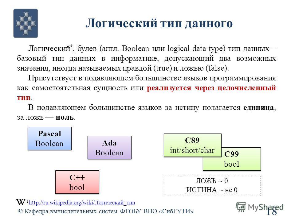 Логический тип данного © Кафедра вычислительных систем ФГОБУ ВПО «СибГУТИ» 18 Логический *, булев (англ. Boolean или logical data type) тип данных – базовый тип данных в информатике, допускающий два возможных значения, иногда называемых правдой (true