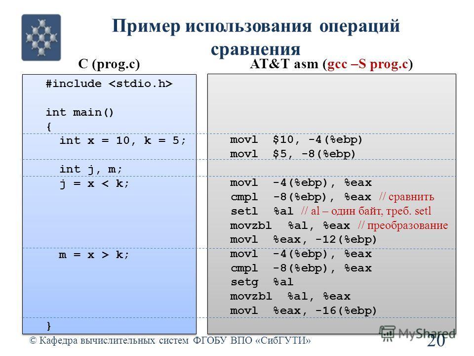 Пример использования операций сравнения © Кафедра вычислительных систем ФГОБУ ВПО «СибГУТИ» 20 C (prog.c)AT&T asm (gcc –S prog.c) #include int main() { int x = 10, k = 5; int j, m; j = x < k; m = x > k; } #include int main() { int x = 10, k = 5; int