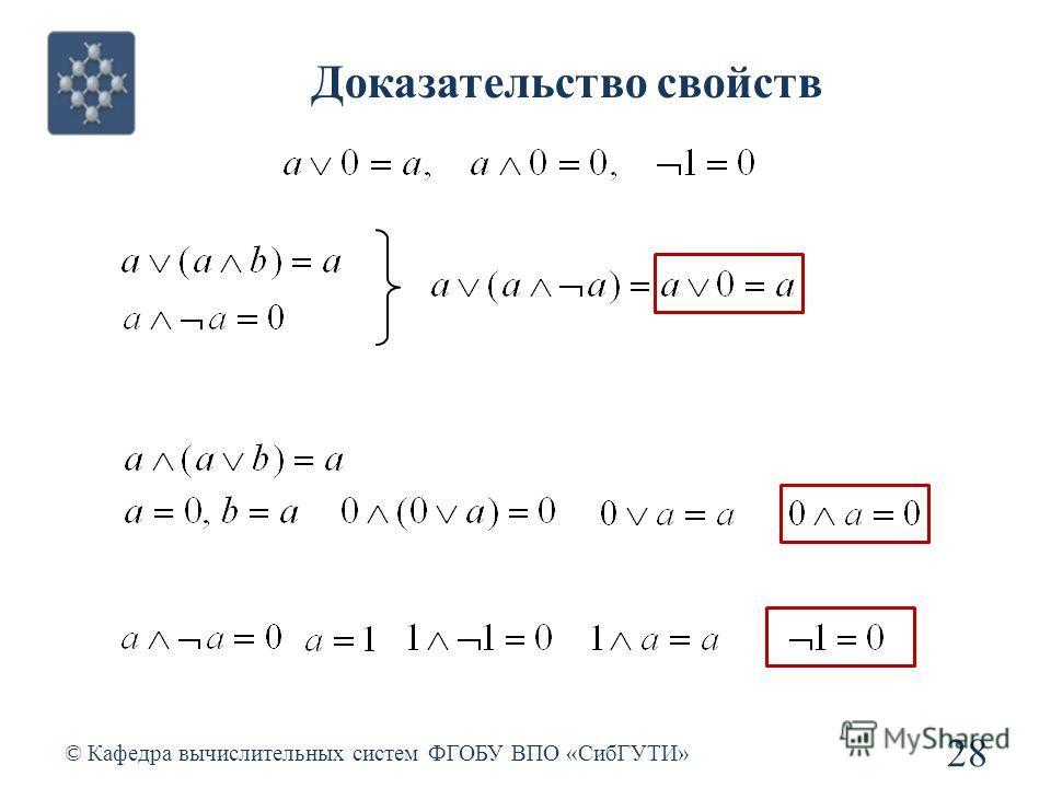 Доказательство свойств © Кафедра вычислительных систем ФГОБУ ВПО «СибГУТИ» 28