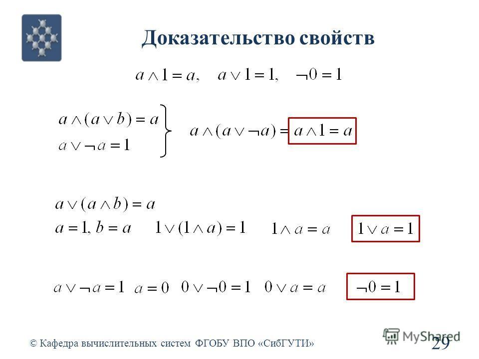 Доказательство свойств © Кафедра вычислительных систем ФГОБУ ВПО «СибГУТИ» 29