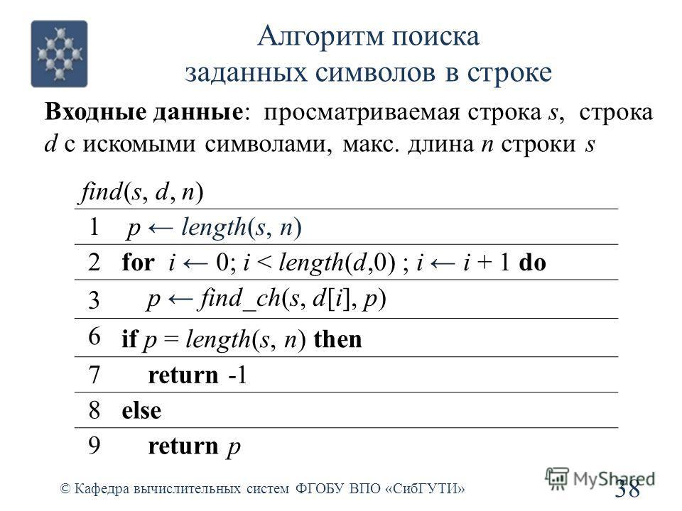 Алгоритм поиска заданных символов в строке 38 © Кафедра вычислительных систем ФГОБУ ВПО «СибГУТИ» find(s, d, n) 1 p length(s, n) 2for i 0; i < length(d,0) ; i i + 1 do 3 p find_ch(s, d[i], p) 6 if p = length(s, n) then 7 return -1 8else 9 return p Вх