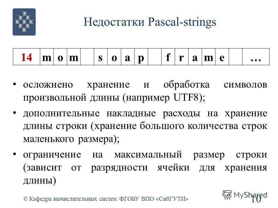 Недостатки Pascal-strings © Кафедра вычислительных систем ФГОБУ ВПО «СибГУТИ» 10 осложнено хранение и обработка символов произвольной длины (например UTF8); дополнительные накладные расходы на хранение длины строки (хранение большого количества строк