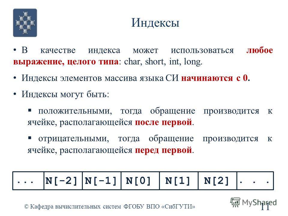 Индексы © Кафедра вычислительных систем ФГОБУ ВПО «СибГУТИ» 11... В качестве индекса может использоваться любое выражение, целого типа: char, short, int, long. Индексы элементов массива языка СИ начинаются с 0. Индексы могут быть: положительными, тог