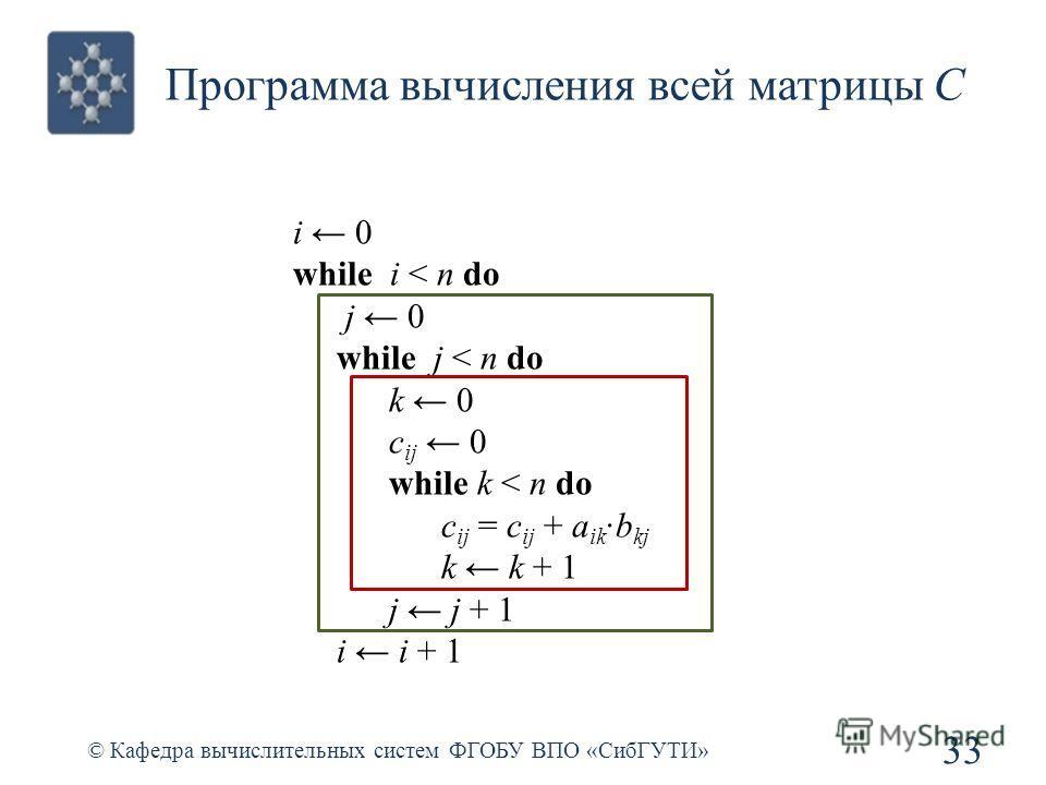 Программа вычисления всей матрицы С © Кафедра вычислительных систем ФГОБУ ВПО «СибГУТИ» 33 i 0 while i < n do j 0 while j < n do k 0 c ij 0 while k < n do c ij = c ij + a ikb kj k k + 1 j j + 1 i i + 1