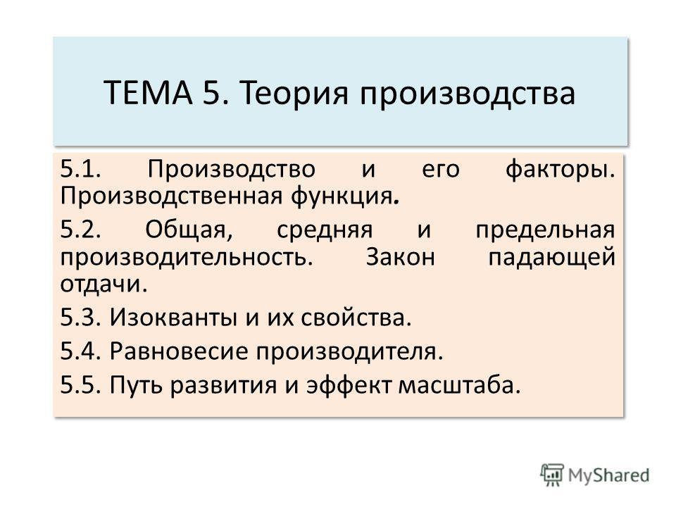 ТЕМА 5. Теория производства 5.1. Производство и его факторы. Производственная функция. 5.2. Общая, средняя и предельная производительность. Закон падающей отдачи. 5.3. Изокванты и их свойства. 5.4. Равновесие производителя. 5.5. Путь развития и эффек