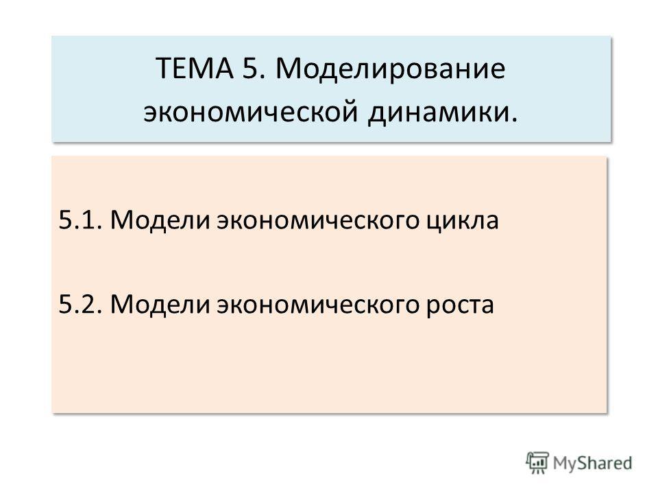 ТЕМА 5. Моделирование экономической динамики. 5.1. Модели экономического цикла 5.2. Модели экономического роста 5.1. Модели экономического цикла 5.2. Модели экономического роста