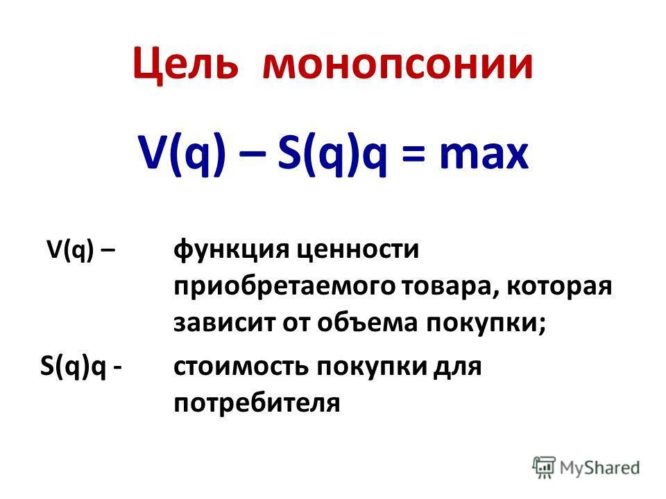 Цель монопсонии V(q) – S(q)q = max V(q) – функция ценности приобретаемого товара, которая зависит от объема покупки; S(q)q -стоимость покупки для потребителя