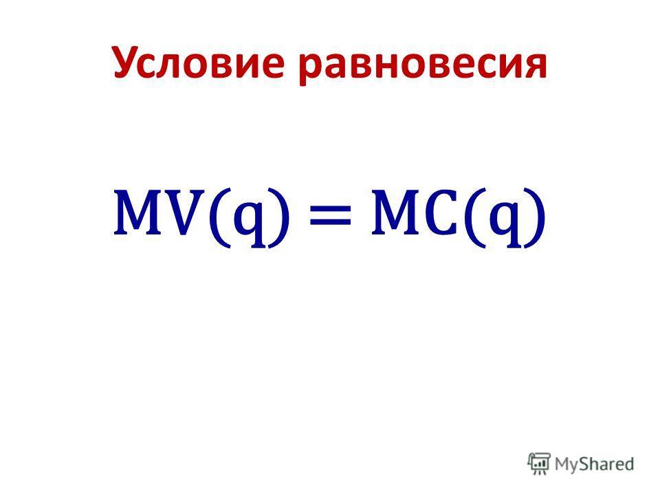 Условие равновесия MV(q) = MC(q)