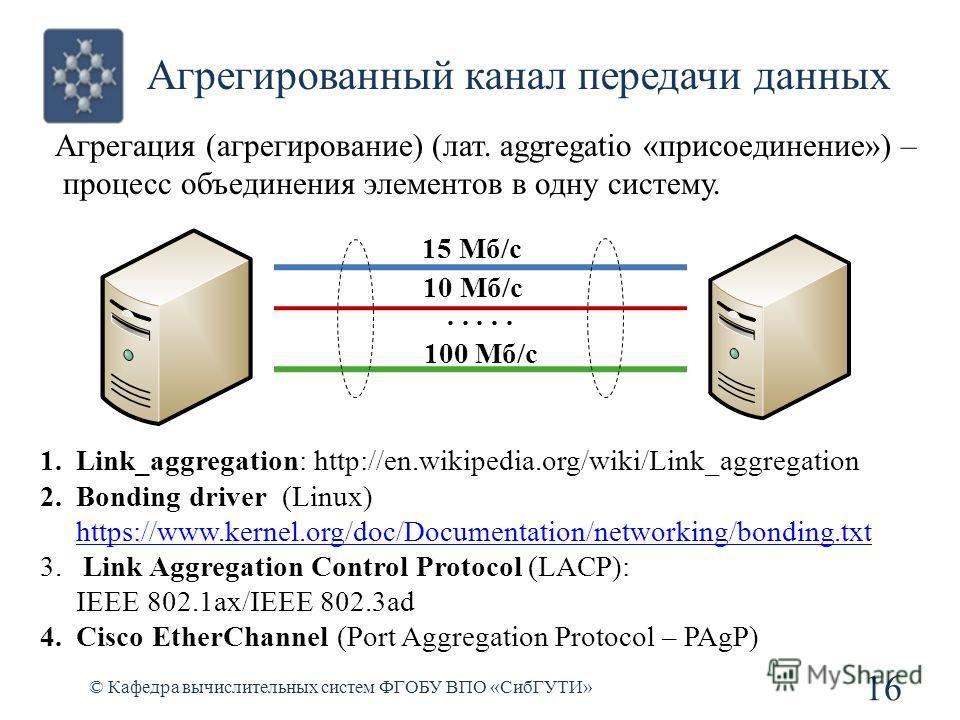 Агрегированный канал передачи данных © Кафедра вычислительных систем ФГОБУ ВПО «СибГУТИ» 16 Агрегация (агрегирование) (лат. aggregatio «присоединение») – процесс объединения элементов в одну систему...... 15 Мб/с 10 Мб/с 100 Мб/с 1.Link_aggregation: