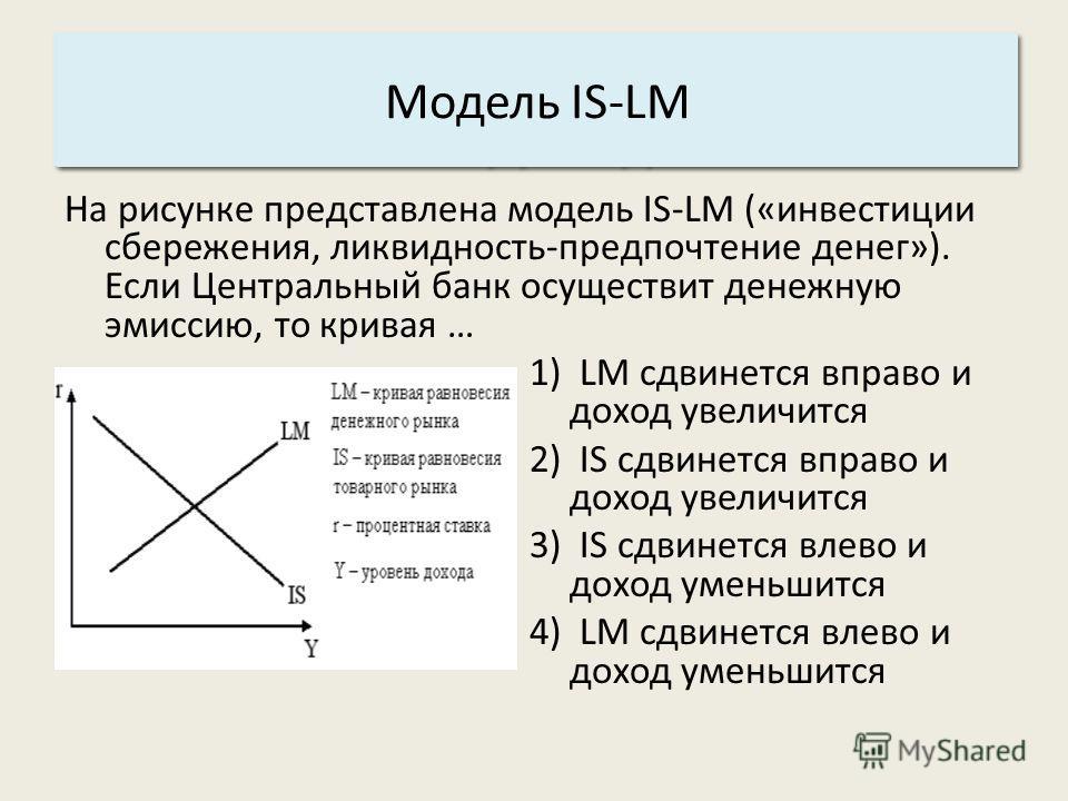 Основные характеристики системы: 3. Структура. Модель IS-LM На рисунке представлена модель IS-LM («инвестиции сбережения, ликвидность-предпочтение денег»). Если Центральный банк осуществит денежную эмиссию, то кривая … 1) LM сдвинется вправо и доход