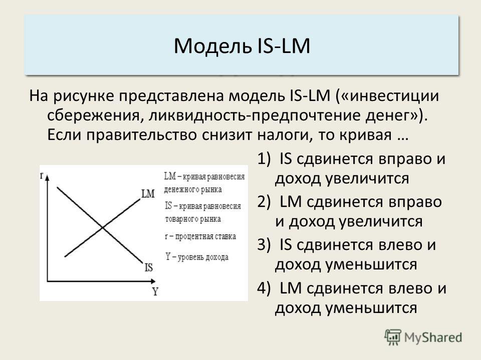 Основные характеристики системы: 3. Структура. Модель IS-LM На рисунке представлена модель IS-LM («инвестиции сбережения, ликвидность-предпочтение денег»). Если правительство снизит налоги, то кривая … 1) IS сдвинется вправо и доход увеличится 2) LM